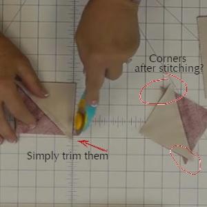corners after stitching