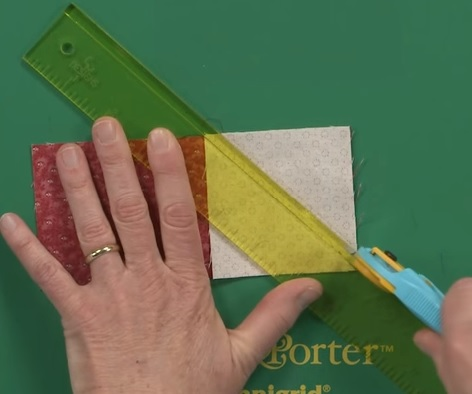 add a quarter ruler diagonal cut