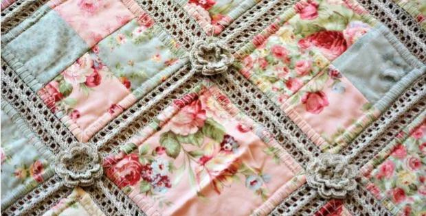 Cotton Yarn Crochet And Fabric Quilt Pretty Shabby