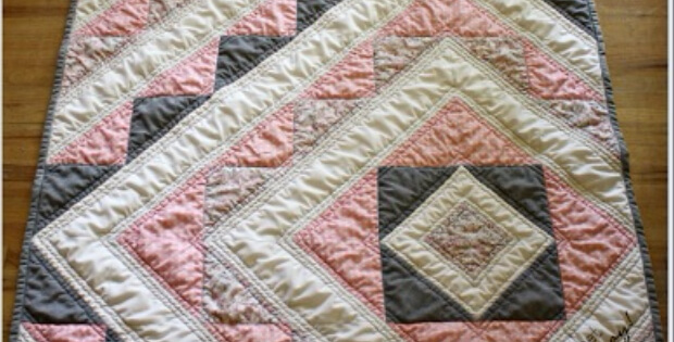 Baby Quilt Pattern Pink Fabric With Tiny Stars Quilting