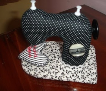 sewing machine pin cushion black and white