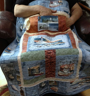 Lovie lap quilt Nautical fabric