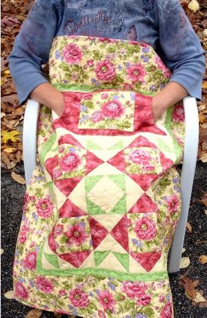 Lovie lap quilt with pockets garden flowers