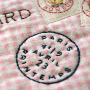 fabric labels like a postal stamp