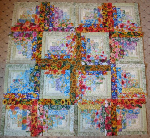 Floral Fabric Log Cabin You Won T Need Patience It S
