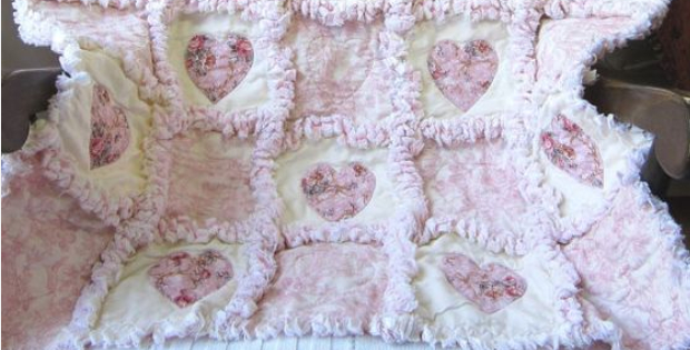 Rag Quilt Shabby Chic Cottage Roses And Hearts Quilting Affair