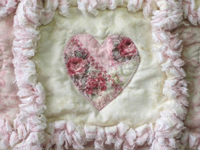 shabby chic rose used in a rag quilt