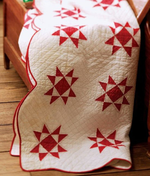 touching stars quilt red and white red scallop border