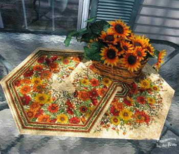 triangle swirl pattern using floral border fabric