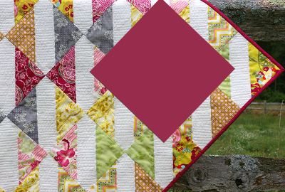 baby quilt binding Spiced Berry fabrc