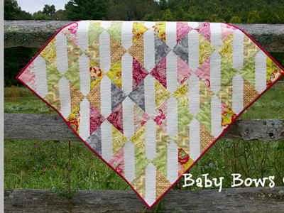 baby quilt baby bows