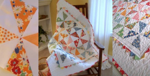 One Charm Pack Quilt Pattern With Pinwheels Framed In Prairie Points