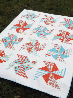 pinwheel quilt with pinwheels on a square