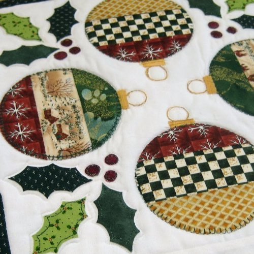 Christmas ornaments quilted table topper