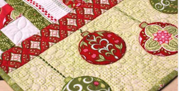 Holiday Table Runner Holiday Fabric Fussy Cut Baubles