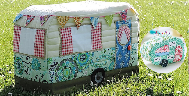 Vintage Caravan Sewing Machine Cover And Pin Cushion To Match ...