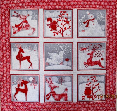 Holiday Frost Reindeer Panel Fabric For Quick Christmas