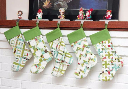 scrappy christmas stockings different quilt blocks - Quilted Christmas Stockings