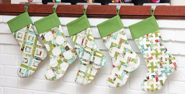 5 Scrappy Christmas Stockings Ready At The Mantle Quilting Cubby