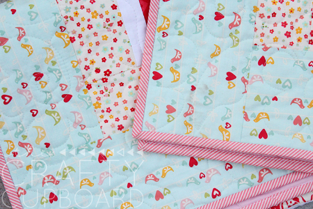 Jelly roll baby quilt binding