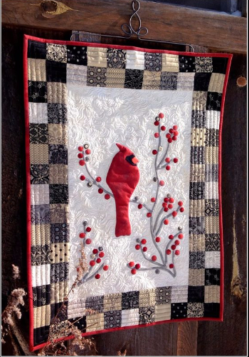 Red Berries Cardinal Wall quilt