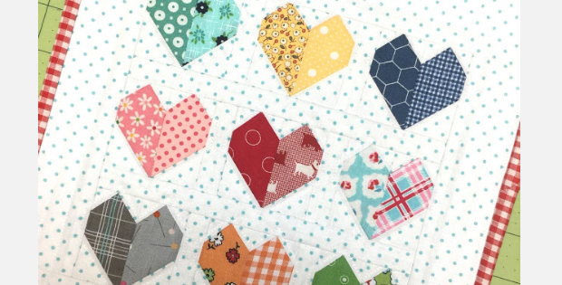 Valentine Hearts mini quilt