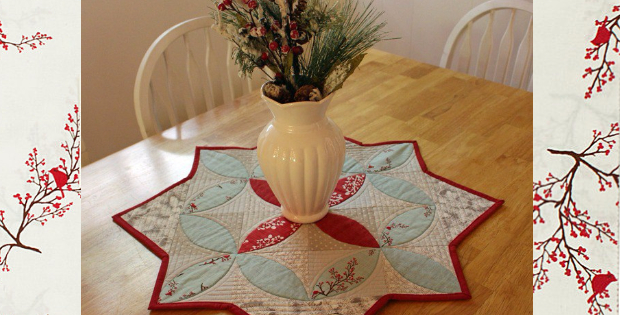 Quilted Round Table Toppers.Winters Lane Table Topper To Keep Your Winter Cardinal All Year