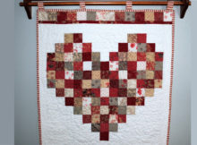 one charm pack Valentine heart wall hanging