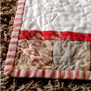 red and white striped binding