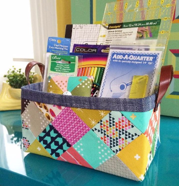 sturdy fabric basket for patterns and quilting rulers