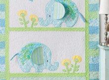 Bobo elephants baby quilt