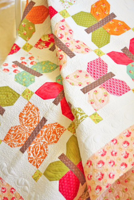 Butterfly throw quilt Painted Ladies