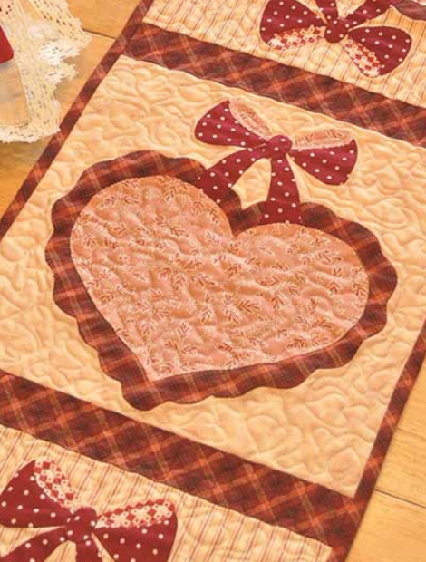 February table runner vintage with hearts