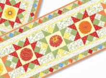 Table runner flying geese quilt blocks and flowers