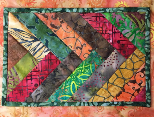 braided mug rug Boundless Batik fabric
