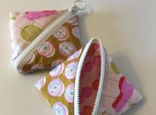 half square triangle pouch free style zipper