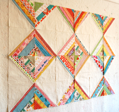 quilt pattern string blocks with colorful fabric