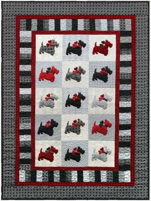 Quilt Pattern For Scottie Dog : Scottie Dog Quilt With Cute Puffy Dogs Quilting Cubby