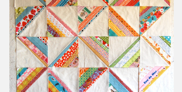 string quilt with floral fabric