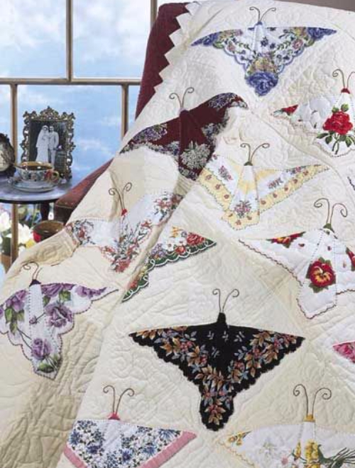 vintage style butterfly hankie quilt Mothers hankerchief