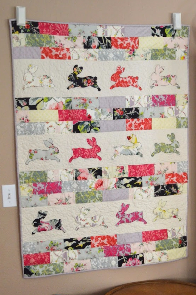 Bunny wall quilt bunnies cut with Sizzix Bigz bunny