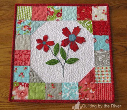 Charm square mini quilt Moda Ruby