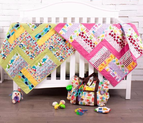Urban Zoologie fabric baby quilt