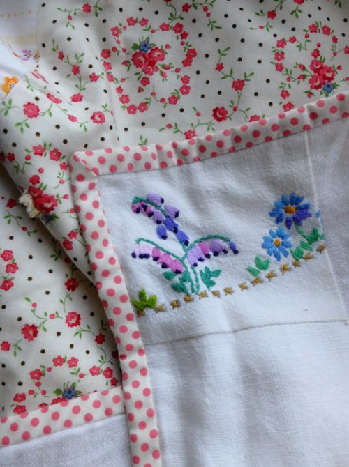 art of stitching embroidered linen quilt