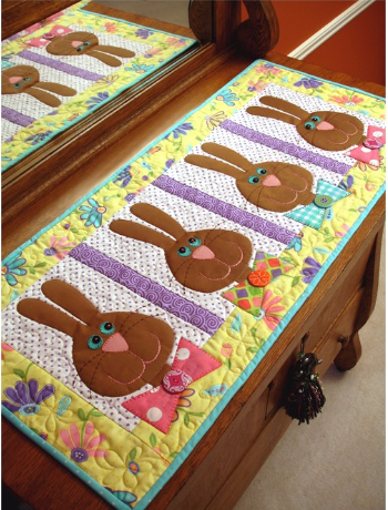 bow tie bunnies table runner