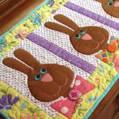 bunnies table runner whimsical