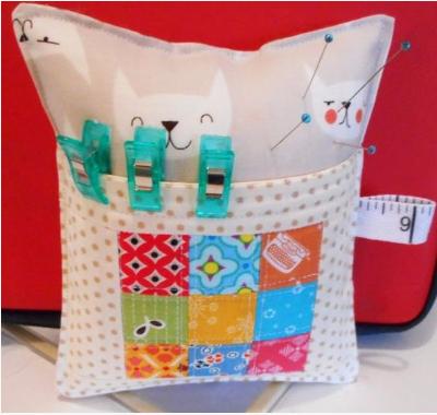 cat pincushion with pocket