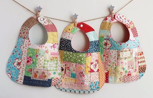 patchwork bibs with scraps