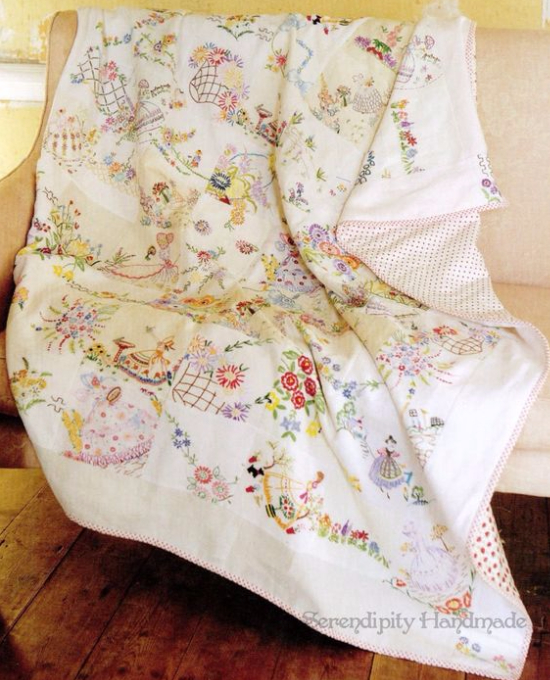 vintage hanky quilt embroidered linens