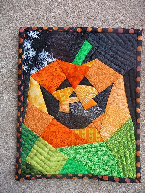 Sweet Jack O Lantern Pumpkin Mini Quilt Will Make Everyone
